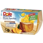 Dole Diced Yellow Cling Peaches in 100% Fruit Juice - 1 Multi-Pack (4 cups)