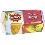 Del Monte Diced Mangos in Light Syrup, 4 oz, 4 count
