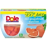 Dole Fruit Bowls Red Grapefruit in 100% Fruit Juice, 4 oz cups
