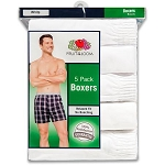 Fruit of the Loom Men's Classic WHITE Boxers, (5-PACK)