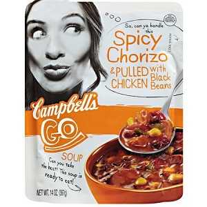 Campbell's Go Spicy Chorizo & Pulled Chicken Soup with Black Beans, 14 oz