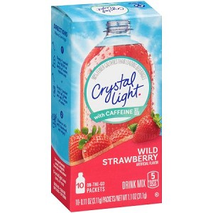 Crystal Light with Caffeine On-the-Go Wild Strawberry Drink Mix 10 ct Packets
