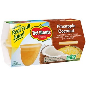 Del Monte Pineapple Coconut in Coconut Flavored Light Syrup, 4 oz, 4 ct