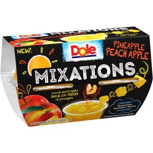 Dole Mixations Pineapple Peach Apple 4-4 oz. Cups 16 oz