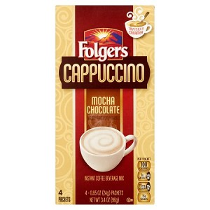 Folgers Cappuccino Mocha Chocolate Instant Coffee Beverage Mix, .85 oz, 4 count 2 oz