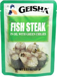Geisha Fish Steaks with Green Chilies 3 53 oz  Pouch *KOSHER*