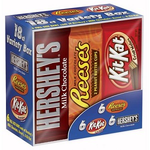 HERSHEY'S Chocolate Full Size Variety Pack, 18 Count