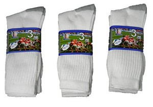 Mens Crew Socks (Pack of 3) All White**