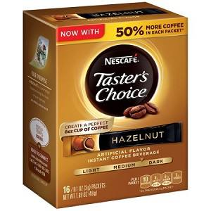 NESCAFE TASTER'S CHOICE Hazelnut Instant Coffee Beverage 16-0.1 oz. Single Serve Packets
