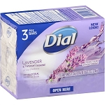Dial Antibacterial Deodorant Bar Soap, Lavender & Twilight Jasmine, 4 Oz. 3 bars.