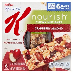 Kellogg's Special K Nourish Cranberry Almond Chewy Nut Bars, 1.16 oz, 6 count
